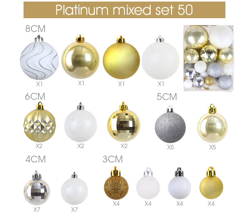 11 inhoo Plastic Christmas Balls For Home Christmas Tree Decorations White Baubles Xmas Ornaments Pendant Balls 2019 New Year Gifts