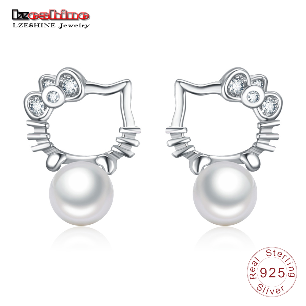 LZESHINE Silver 925 Cute Kitty Cat Stud Earrings for Girls Fashion Pearl Earrings For Women Sterling Silver Bridal Jewellery  ...