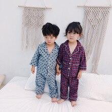 Otoño Invierno niños niñas moda pijama de dibujos animados conjuntos camisa de manga larga de algodón puro + Pantalones 2 piezas trajes niños conjuntos de ropa