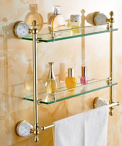 Free shipping Bathroom Glass Shelf Crystal & Copper Gold plated Dual Tier glass Cosmetic Shampoo Body Wash Shelves Bath shelf  цена и фото