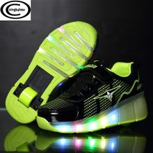 Roller Shoes LED Flashing Dounle Wheels Flash Roller Skating Shoes Colorful Glowing Roller Sneakers For Male Female kids child(China)