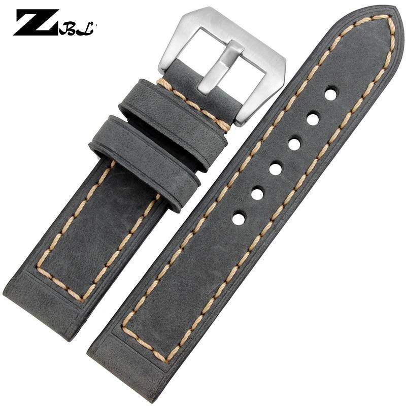 Tykt urbånd Ægte læderurbånd 20mm 22mm 24mm 26mm herre Rent - Tilbehør til ure - Foto 5