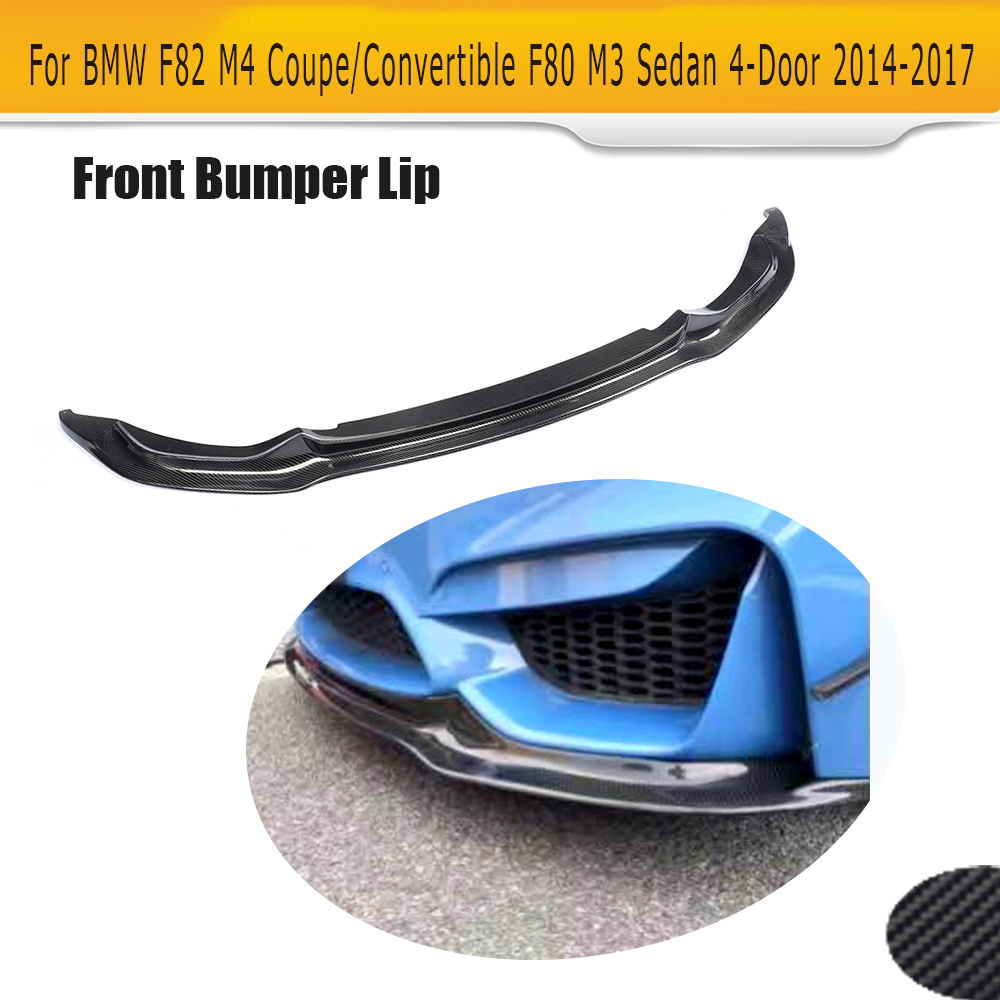 цена на Carbon Fiber Front Bumper Lip Spoiler Chin For for BMW F82 M4 2 Door F80 M3 Sedan 4 Door 2014 - 2017 V Style