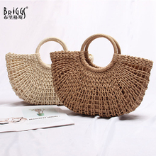 BRIGGS top-handle bag female women handbag Summer holiday beach bag for ladies woven luxury designer small straw bag 2019 country style genuine leather women small knitting designer totes bag top handle basket handbag ladies woven colorful purse bag