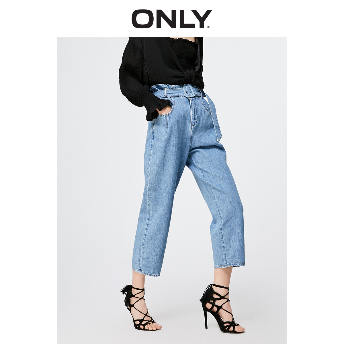 ONLY 2019 Spring Summer New Women's Loose Fit High-rise Crop   Jeans   |119149685