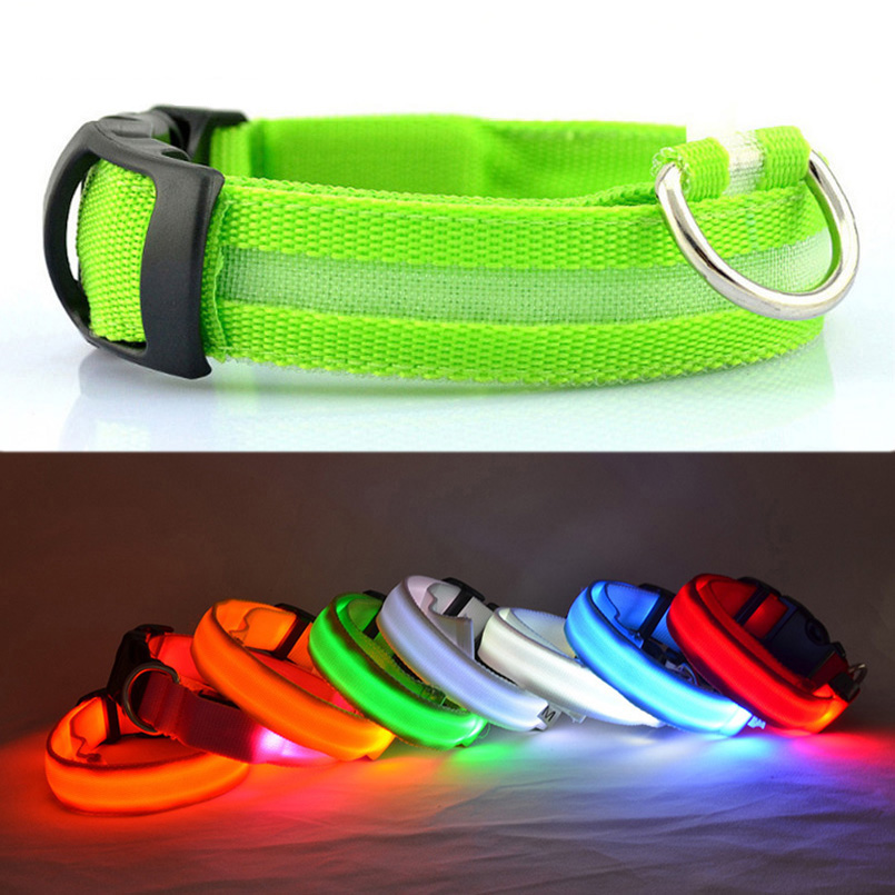 LED Safety Dog Collar USB Rechargeable Light Up Pet Collar Adjustable Nylon Flashing Luminous Necklace Puppy  Anti-lost Supplies