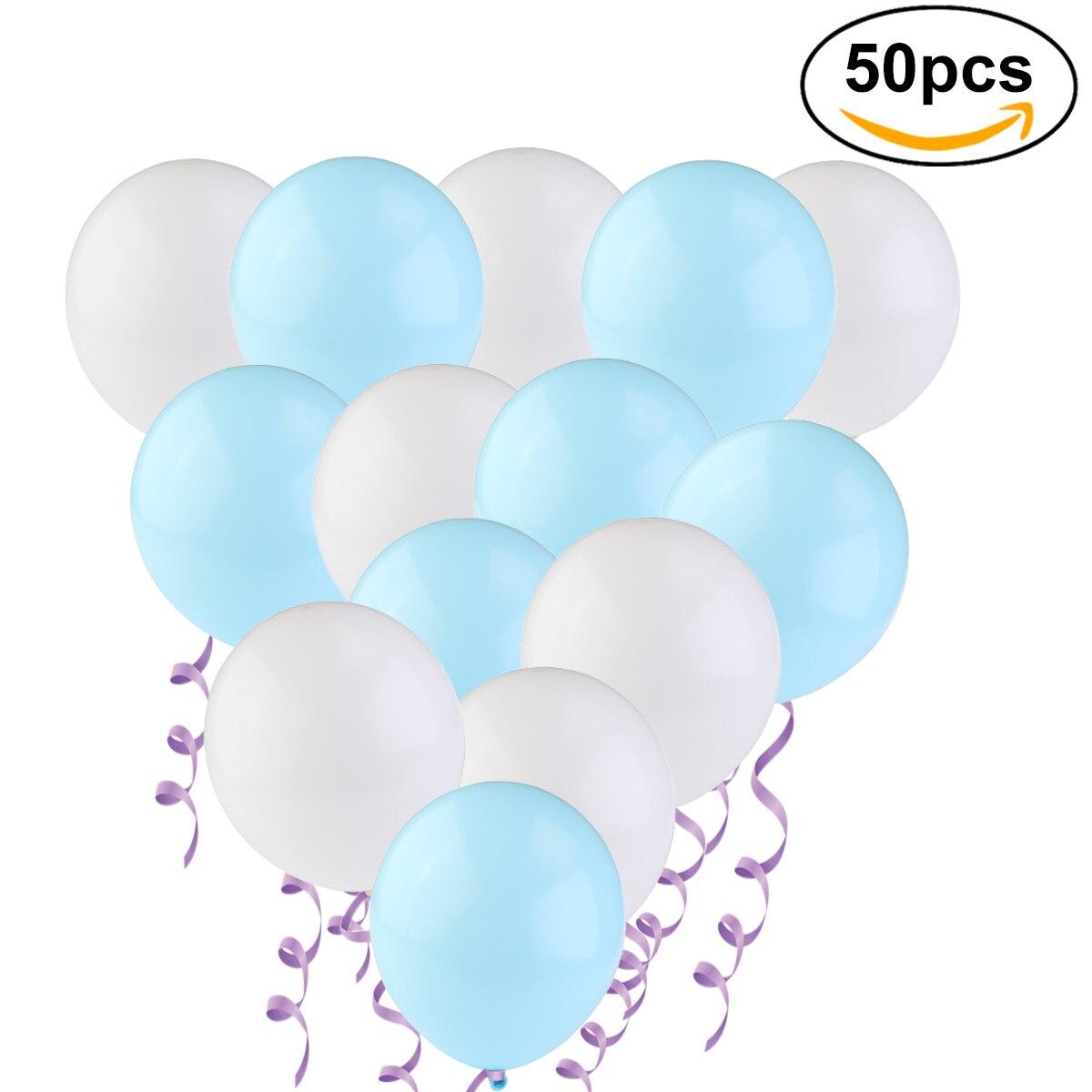 50 Metallic Balloons Each 25 X White And Light Blue Party Balloons ...