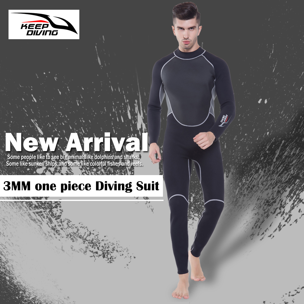 Image 5 - KEEP DIVING Professional Neoprene 3MM Wetsuit One Piece Full body For Men Scuba Dive Surfing Snorkeling Spearfishing Plus Size-in Wetsuit from Sports & Entertainment