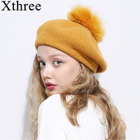 Xthree Winter Wool Beret Hat With Ostrich Fur Pom Pom Knitted Hat For Women Girl Solid