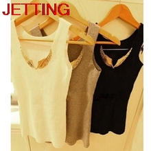 JETTING-2017 New Sexy Metal Wings Summer Women Tank Tops Solid Sequined Cotton Sleeveless Camis Women Clothes Free Size 3 Colors