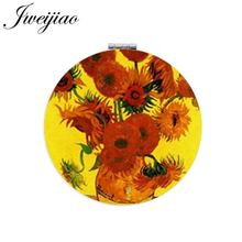 JWEIJIAO Painting Craft Art Picture Flower Makeup Mirror Mini Round Folding Compact PU Leather Compact Pocket Mirror Vanity(China)