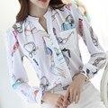 Otoño de las mujeres encabeza la primavera de manga larga negro blanco oficina clothing pocket casual blusa de la gasa camisas de las mujeres de moda de corea