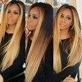 1B 27 Ombre Бразильского Виргинские Человеческих Волос Прямой 4 Пучки 7А Класс Прямо Два Тона Светлые Волосы Ткет Высокое Качество