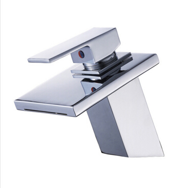 fashion chrome brass single lever bathroom waterfall faucet  hot and cold basin faucet glass faucet sink mixer
