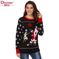 Deodar 2018 Autumn winter women sweaters and pullovers long sleeve casual crop sweater Christmas slim solid knitted jumpers