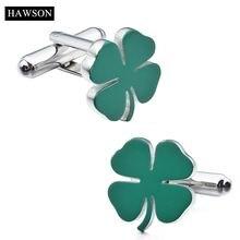 Запонки hawson модного стиля четырехлистный клевер голубой/индиго