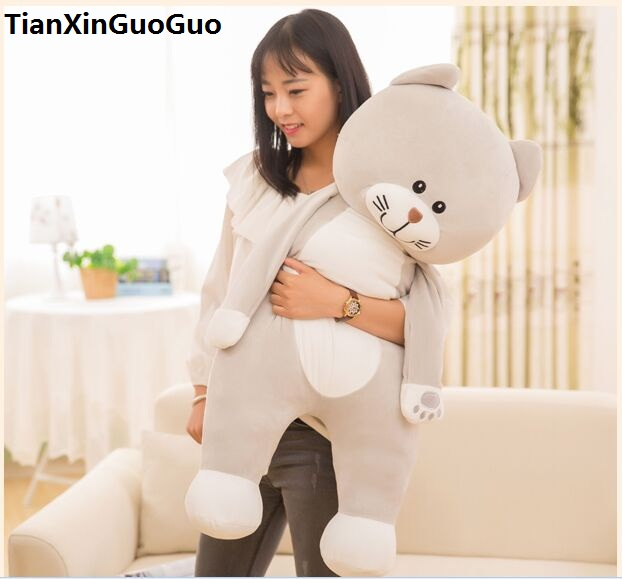 stuffed fillings toy Large 100cm beige cat plush toy lovely kitty down cotton very soft doll throw pillow birthday gift s0659 1pc 50 85cm 3 colors cute lying down french bulldog plush stuffed toy doll model soft cotton dog pillows baby kids birthday gift
