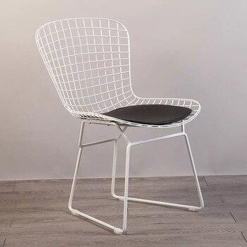 Freies verschiffen U-BEST Moderne Klassische Design Schwarz Weiß Harry Bertoia metalldraht Gepolsterten Stuhl Stahl Draht esszimmerstuhl