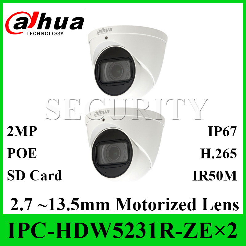 2 Pcs Lot Dahua Original IPC HDW5231R ZE Network Camera Starlight 2MP WDR Eyeball 2 7
