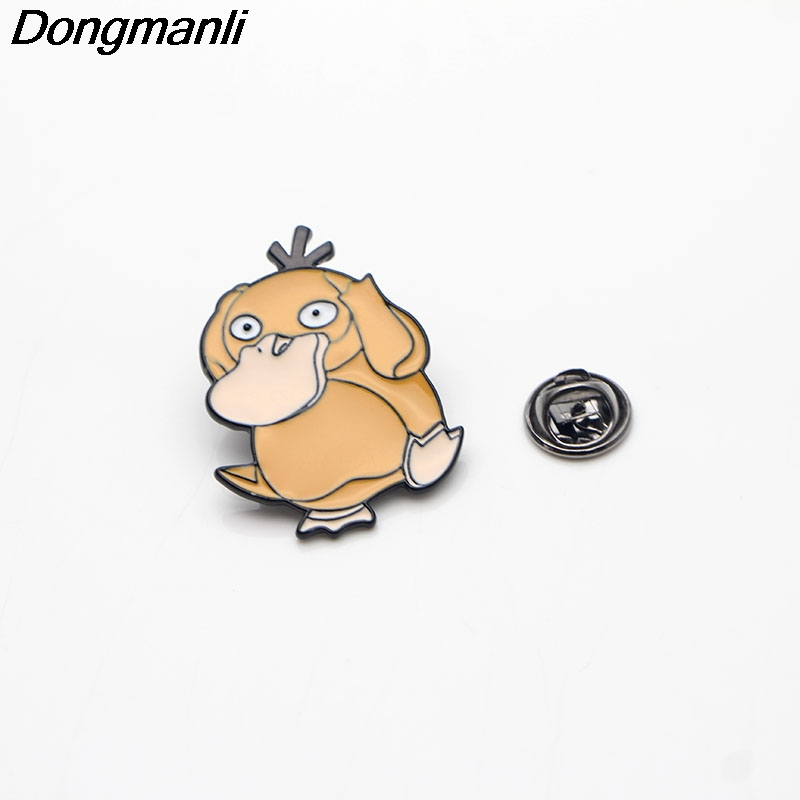 L3012 Psyduck Funny Pins Enamel Brooches for Women Men Lapel pin Cartoon Metal Badge Collar Jewelry Gifts 1pcs in Brooches from Jewelry Accessories