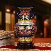 Jingdezhen ceramic vase enamel crystal vase modern decoration Home Furnishing binaural equipment wholesale