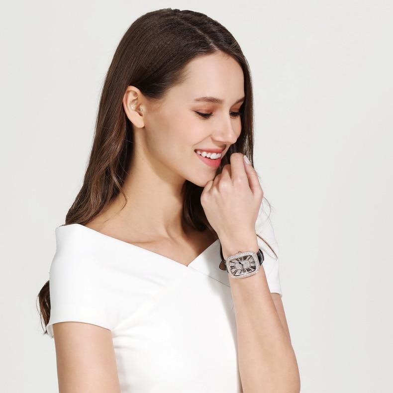 MATISSE модные Австрийские кристаллы Squzre циферблат кожаный ремешок для часов офисная мода для женщин Девушка бизнес леди кварцевые наручные ч... - 6