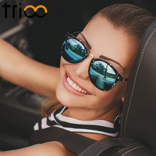 TRIOO Vintage Round Sunglasses Women Fashion Designer Eyewear UV400 Gradient Female Retro Sun Glasses Brand Points Sun Women