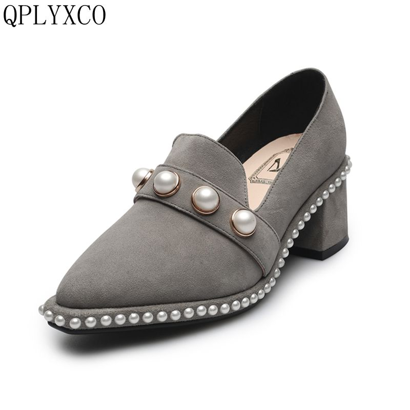 QPLYXCO 2017 New hot Sale size 34-40 Quality Genuine Leather Women Square Toe Square fashion Pumps party wedding shoes A112 strategic management of research