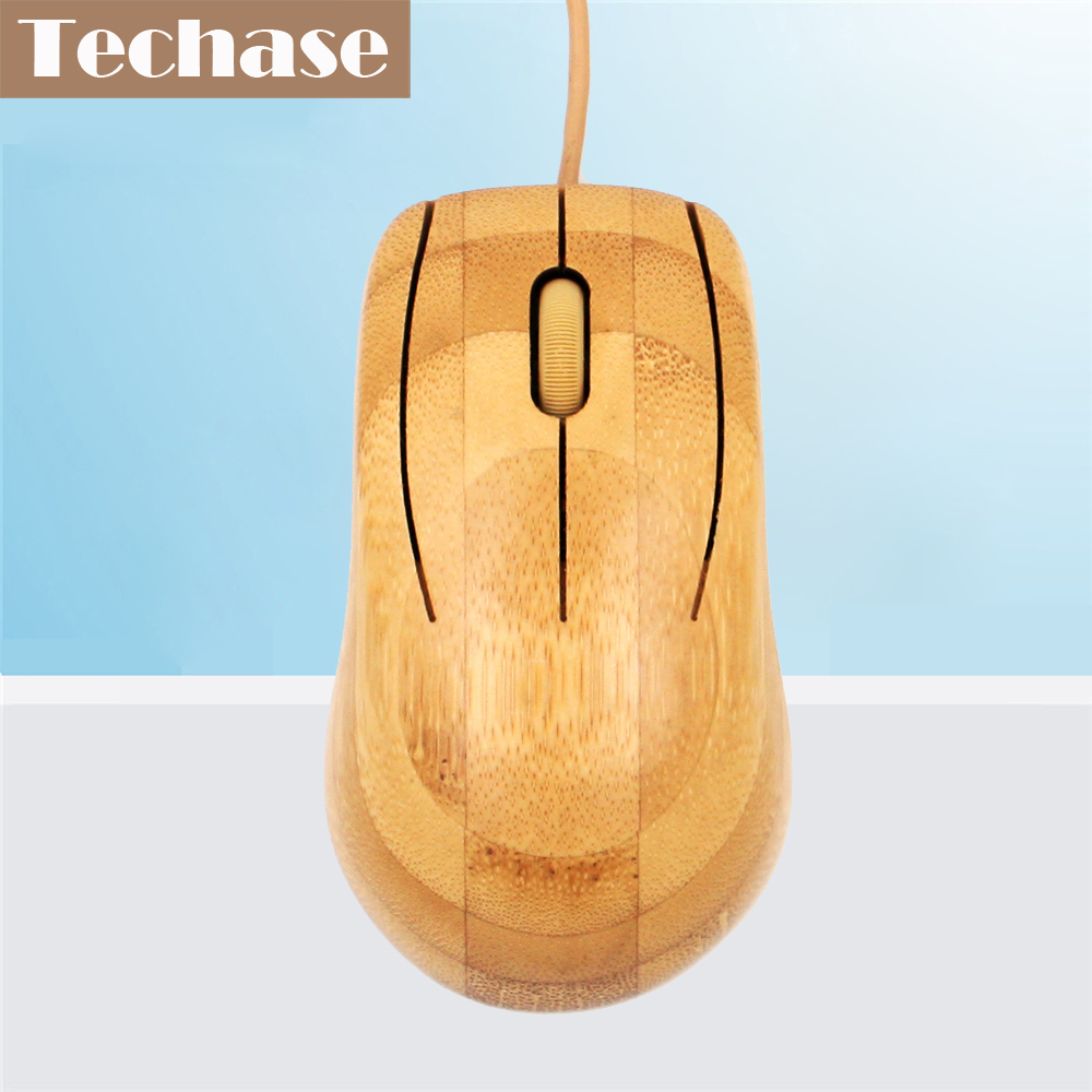 Techase Bamboo Mouse Wired Mause Dataspill Souris Gamer Mus MU1063 Ergonomisk Mouse Com Fio USB-kabel Souris Ordinateur