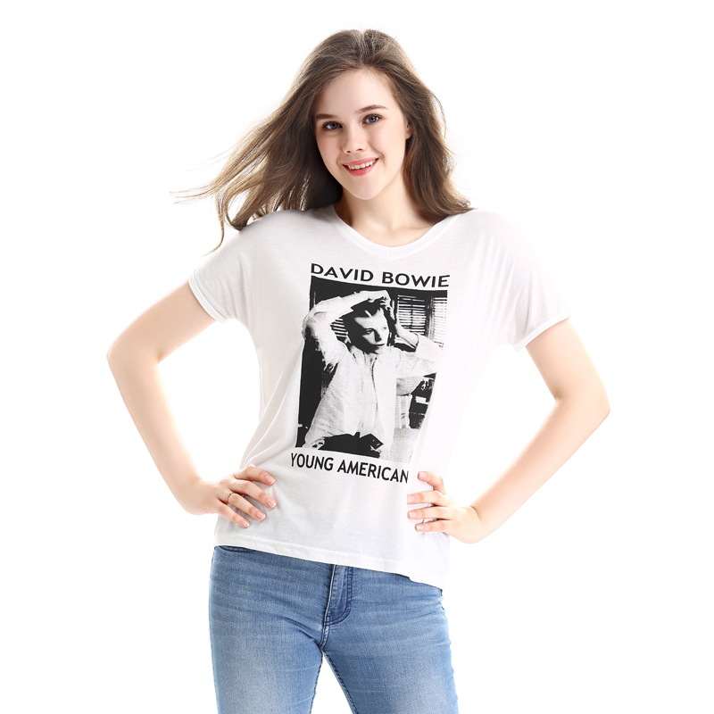 1e88b6f8 European Style Summer Casual Women T Shirt David Bowie Print Graphic Top  Tees White V Neck Cotton Short Sleeve T Shirts-in T-Shirts from Women's  Clothing on ...