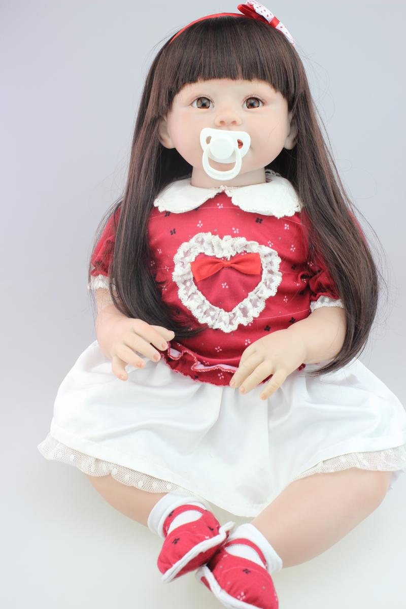 28 70CM girls doll toys/silicone reborn toddlers bonecas long hair red fashion dress baby toys christmas gift28 70CM girls doll toys/silicone reborn toddlers bonecas long hair red fashion dress baby toys christmas gift