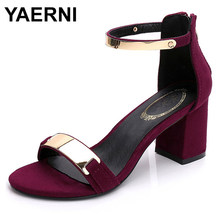 YAERNI Sandals women summer square chunky heels red black Buckle ankle strap high Block heel open toe party sandals woman pump(China)