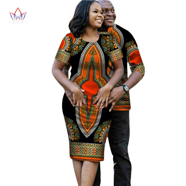 7f39080575e3 African Dresses for Women Couple Clothes for Lovers Short Sleeve Dashiki  Men African Dresses for Women