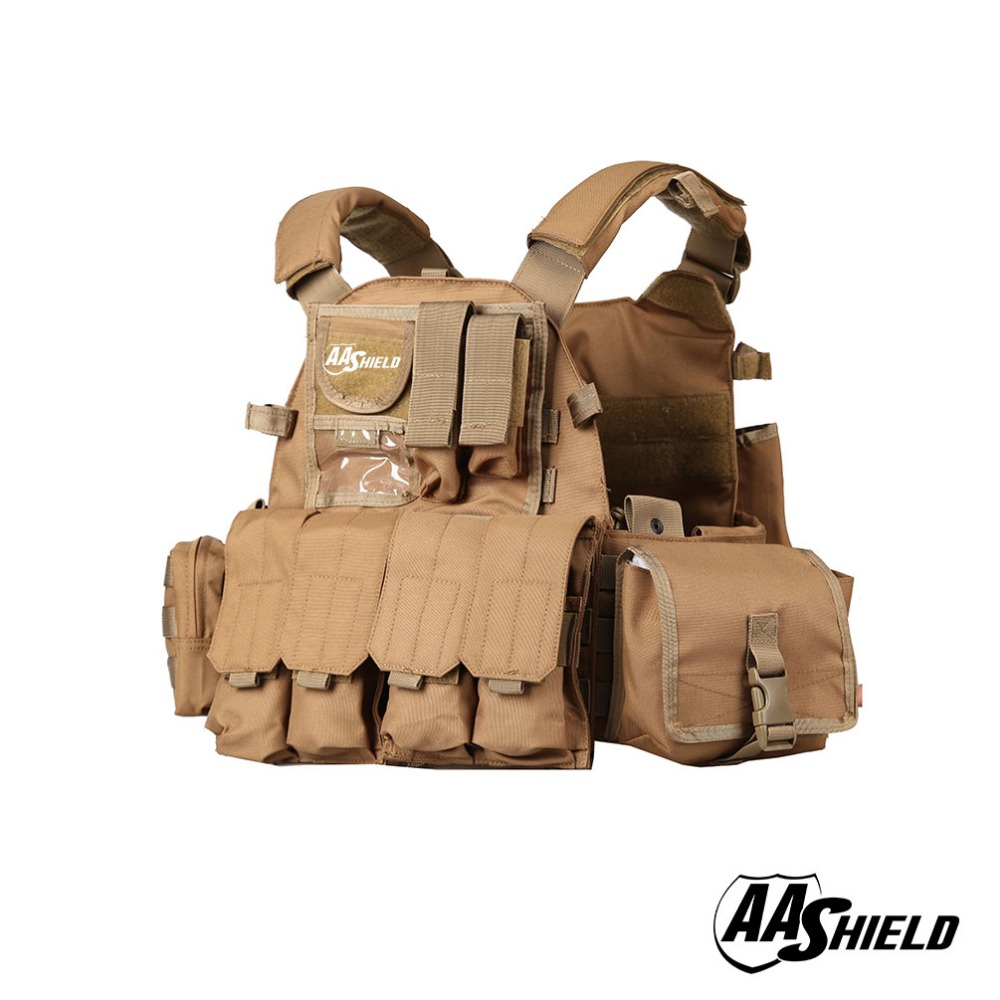 AA Shield Molle Plates Carrier 6094 Style Military Tactical Equipment Vest /TAN br7 tactical vest dark tan custom minifigure piece
