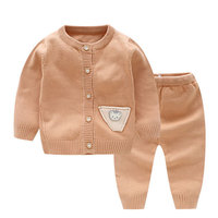 Infant Girls Knitted Cotton Clothes Sets Baby Boys Cartoon Cute Clothing Sets Toddler Winter Warm Cardigan Suits AA52179