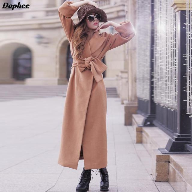 2017 Новый Осенне-Зимней Моды Плюс Размер Шерстяные Пальто Шанца Для Женщин Свободные Ветровка Пальто