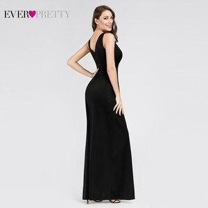 Image 2 - Noir robes de bal 2020 jamais jolie sirène sans manches col en v haute fente volants femmes élégantes soirée robes de soirée Gala Jurken