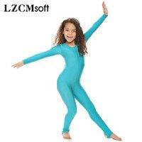 LZCMsoft Childrens Girls Shiny Lycra Dance Gymnastics Long Sleeve Unitard Catsuit Stirrup Nylon Lycra Dance Girls