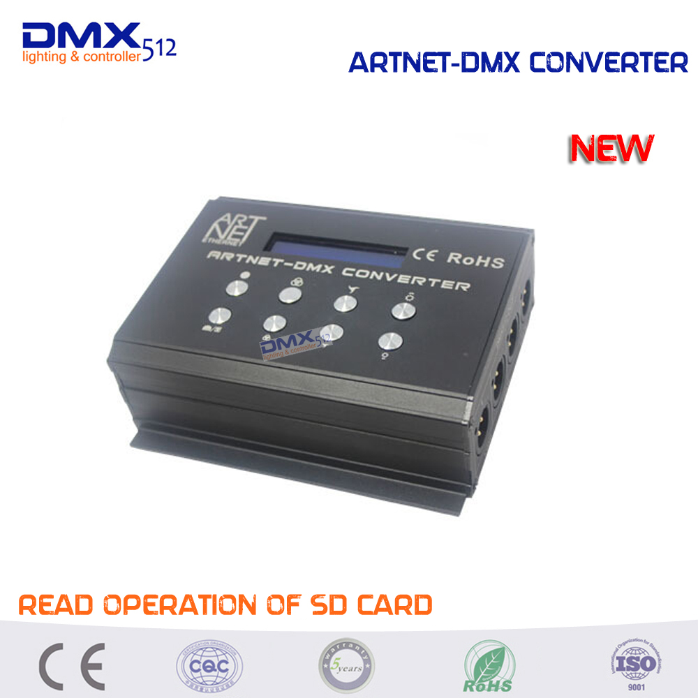 DHL free shipping newest ARTNET to DMX Converter Artnet-dmx Converter 4 standard DMX512 data output ports Leynew DMX400 dhl free shipping 36ch dmx512 controller 13 groups rgb output have xlr