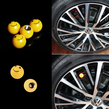 4Pcs Tire Air Valve Cap Tyres Wheel Dust Stems Smile face caps Bolt in Type Ventil Valve for Auto Car Truck Motorcycle 19mm image