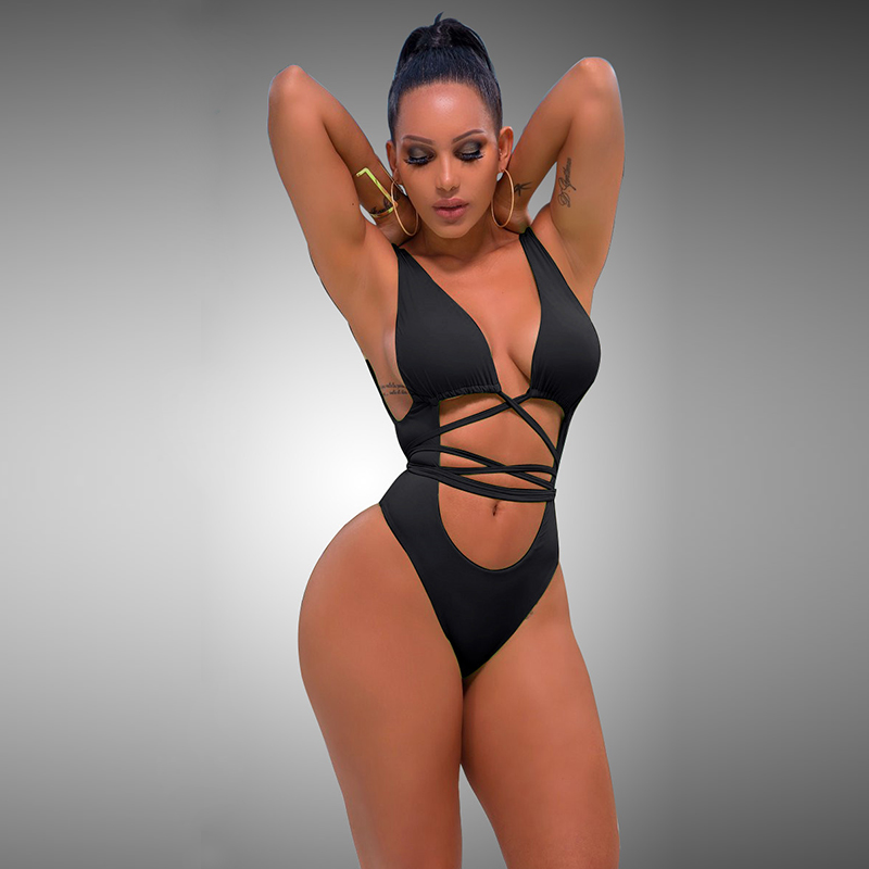 2018 cross bandage monkini sexy women swiming suit Long Strap high waist women one piece bikinis deep V bikini halter beachwear