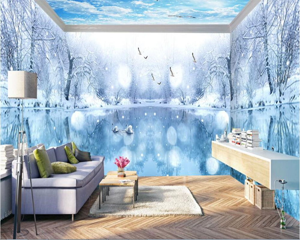 Beibehang Green Three-dimensional Decorative 3d Wallpaper Personality Romantic Snow Day Theme Space Full House Background Behang