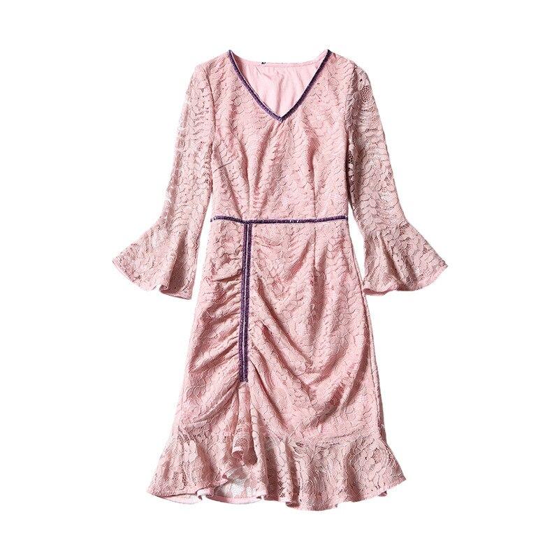 cou Nouveau Oycp D'été Sexy Élégante Robes Fusée Rose V De Robe Dentelle En 80483 Douille Sirène Femmes pqtpwTBx