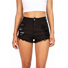 Mid Waist Denim Shorts Size XL Female Short Jeans for Women 2017 Summer Ladies Hot Shorts solid crimping denim shorts
