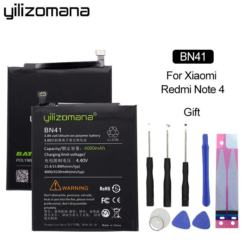 YILIZOMANA Téléphone Batterie BN41 pour Xiaomi Redmi Note 4/Note 4X MTK Helio X20 4000/4100 mah Haute capacité Téléphone Batteries Outils