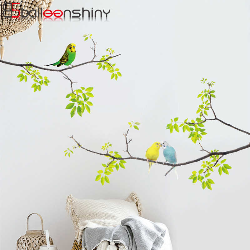 BalleenShiny PVC Tree Branch Birds Plane Wall Sticker Nordic Concise Style Home Bedroom Wall Fridge Paper Removable Decals