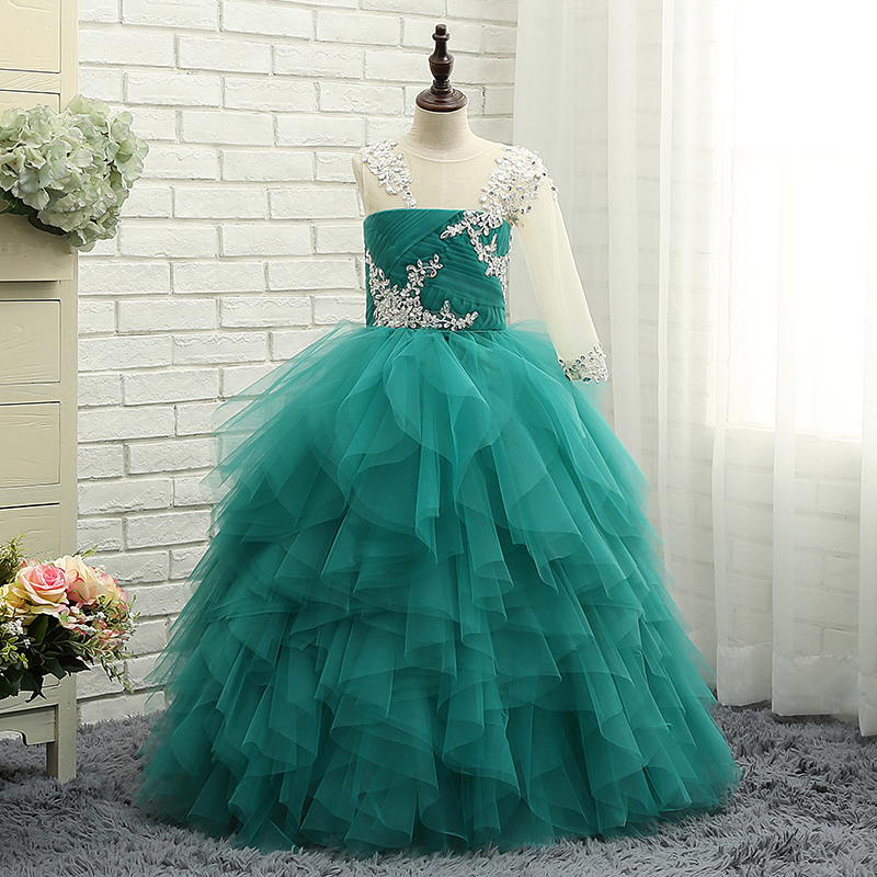 2018 Mint Green Crystal Girl Pageant Dresses First Communion Wedding Ball Gowns Kids Flower Girl Dresses Graduation Lovely Gown mint green casual sleeveless hooded top