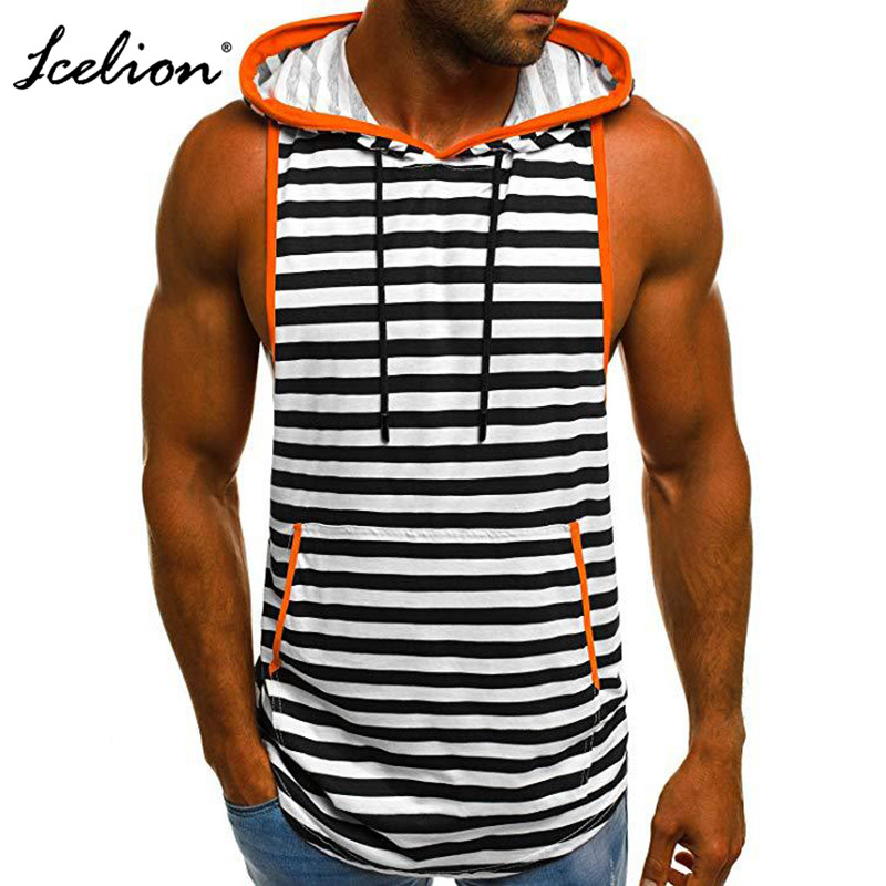 Icelion 2019 New Summer Men   Tank     Top   Stripe Slim Fit Gym Clothing Bodybuilding Muscle Hooded Undershirt Shirt Vest Ropa Hombre