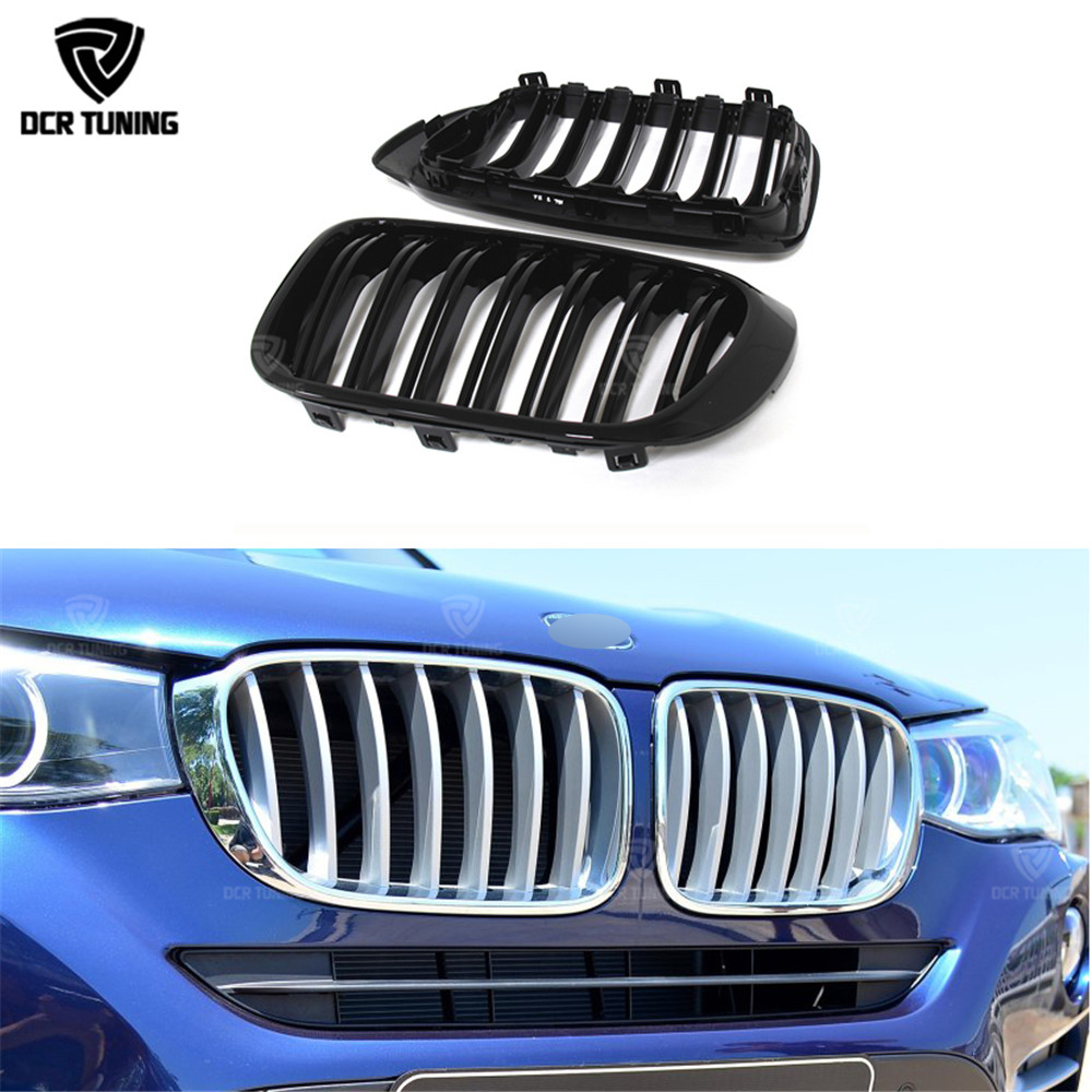 Dual Slats ABS Front Grille For BMW X Series X4 F26 X3 F25 2014 2015 - 2017 Three Color M Look x3m x4m style durable abs front hood grill for 2014 2015 2016 bmw x4 f26