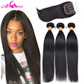 7A Virgin Indian Straight Hair with Closure 3 Bundles With Closure Human Hair Weave With Closure Indian Virgin Hair with Closure